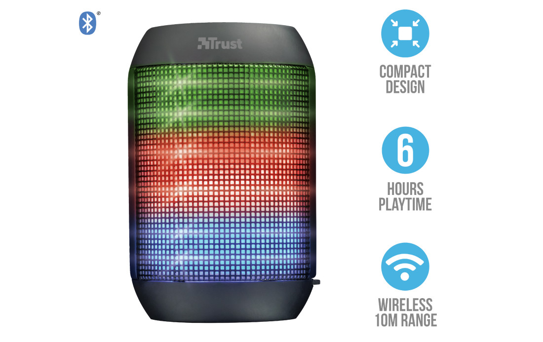 TRUST Ziva Wireless Bluetooth Speaker with party lights (21967), černý
